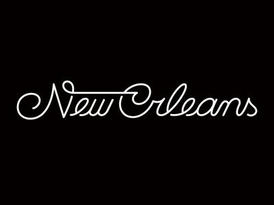 NOLA logotype lettering script type typography black and white ligature nola new orleans shadows monoweight