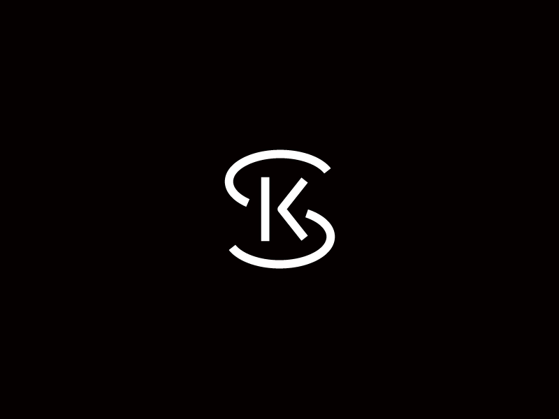 SK black and white monogram typography type branding identity logo