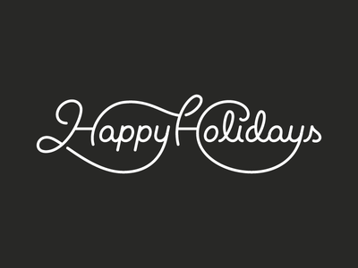Happy Holidays mono weight shadows ligature black and white typography type script lettering