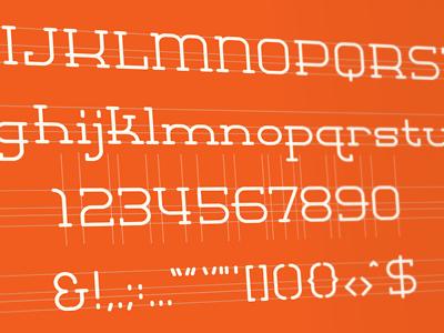 MINOR SLAB lost type slab font typeface low crossbars numerals uppercase lowercase glyphs wip grid michael spitz michaelspitz