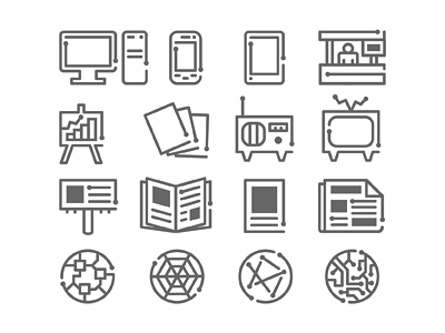 Circuitry Icons : V2 circuitry icons glyphs illustration motion graphics media technology electronics tv phone trade show graph chart computer tablet radio billboard web internet magazine poster newspaper google google business monoweight michael spitz michaelspitz icon