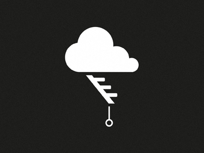 Cloud Storage mark logo identity branding cloud attic stairs storage web lightening black and white michael spitz michaelspitz