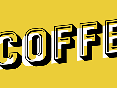 Offset coffee black 3d type typography offset yellow poster nyc letterpress michael spitz michaelspitz