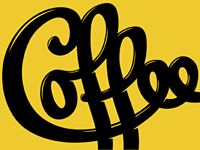 Curves coffee type typography script retro highlights cuts yellow black custom type ligature letterpress hand lettering michael spitz michaelspitz