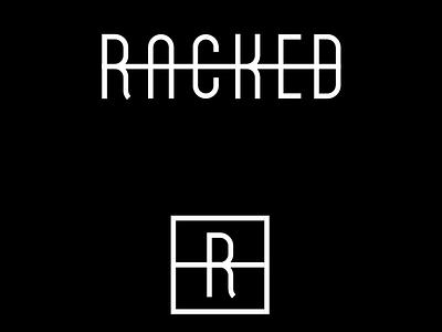 Racked black and white script r mono weight monogram media logotype logo lettering identity fashion branding