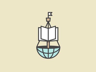 Nautical Knowledge education logo mark ship globe boat book nautical identity branding atlas monoweight michael spitz michaelspitz