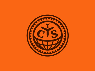 Centro Y Sur logo sun plane monogram round globe travel type americas central south identity michael spitz michaelspitz