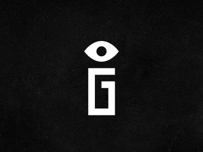 Gi eye g i monogram mark logo identity branding michael spitz michaelspitz black and white