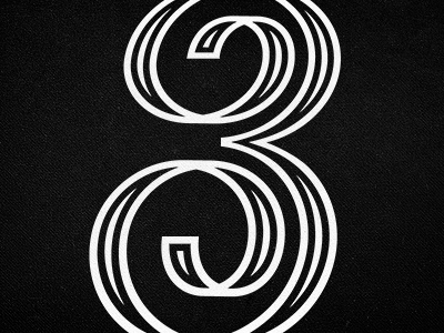3 3 three number digit type custom type lettering ribbon typography ornate inline numeral