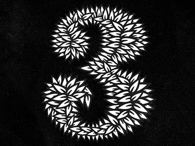 Leafy 3 three 3 type typography branding michael spitz michaelspitz leaves identity black and white print collab numbers custom