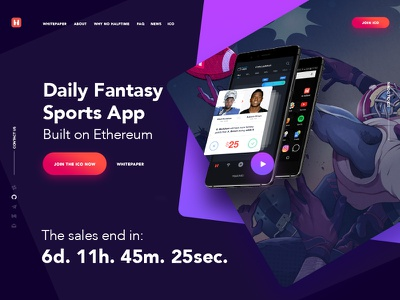Landing Page for ICO in progress dark bets betting ethereum blockchain ico