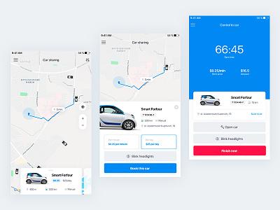 Carsharing app car carsharing clean uiux ui design app concept app