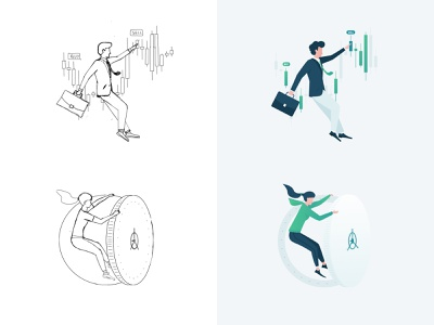 Character design for crypto wallet onboarding screen clean crypto security exchange draw draft woman man people illustraion sketch photoshop design character