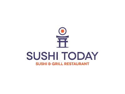 Sushi Today sushi japan blue orange logo today all4leo sushi logo food logo smart logo clever logo torri logo