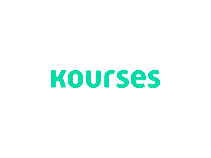 Kourses wordmark brand design smart by design branding studio typogaphy typeface green logo design brand and identity brand identity education logo educational education course kourses courses branding identity design logo logo design wordmark