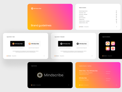 Mindscribe - Brand guidelines startup logo startup branding orange brand guideline swirl tech logo branding design brand and identity logo design guidelines smart by design gradients branding brand identity brand guides brand design branding studio brandbook brand guide brand guidelines
