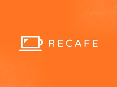 Recafe coffee it orange cup logo design branding coffee logo smart logo clever logo cup logo laptop logo