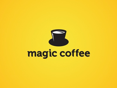 Magic Coffee cafe coffee magic hat cup identity leo all4leo hidden meaning design icon iconic logo logotype yellow black magician typography logo design magic logo