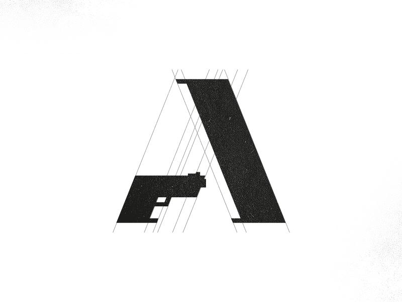 Ammunition Logo a icon logo icon weapon army rifle gun smart logo clever logo ammunition a logo design revolver