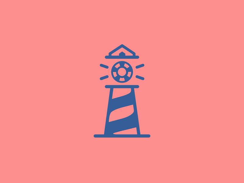 Light House + Casino identity logo design pink blue clever logo smart logo clever logos logo icon logo chip casino light house