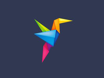 Origami Bird yellow blue green logo design icon logo icon bird bird logo origami logo colorful logo colorful origami