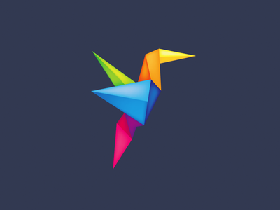 Origami Bird yellow blue green logo design icon logo icon bird bird logo origami logo colorful logo colorful origami