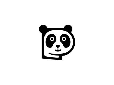 Panda Logo Design p letter p cute panda panda logo clever logo smart logo cute logo anima icon p icon panda