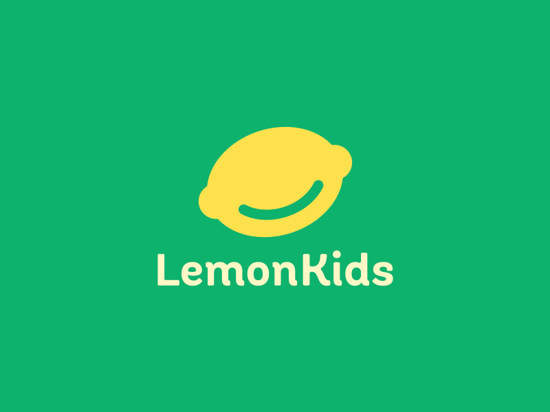 Lemon Kids face smile yellow smart logo citrus lime lemon green children kids fun kid