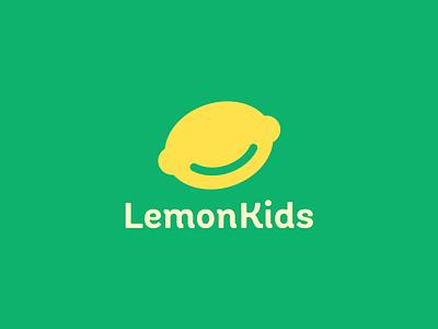 Lemon Kids face smile yellow smart logo citrus lime lemon green children kids fun kid