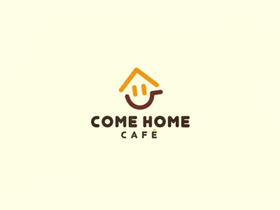 Come Home Cafe smile coffee cup house home cafe logo typography logotype china leo all4leo design