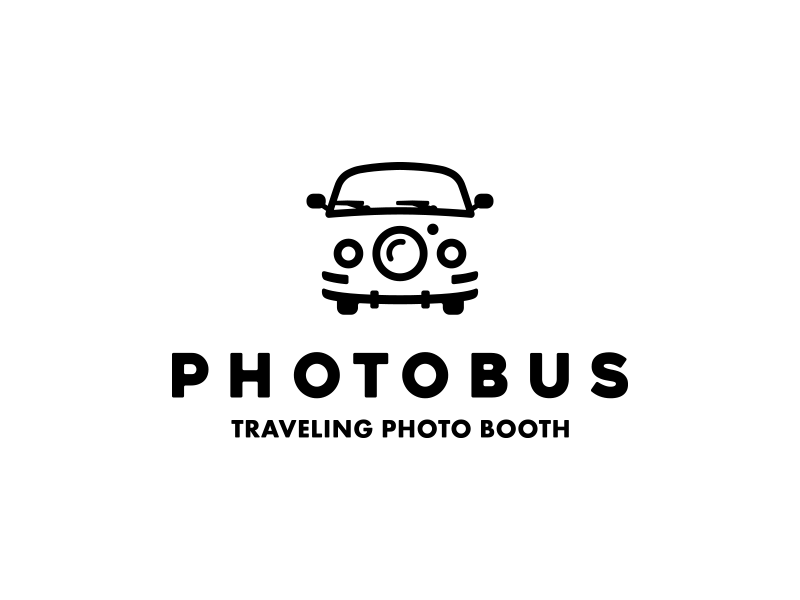 PhotoBus Logo Design v2 camera lens lens van volkswagen black logo camera photo bus logo design photo lens photo bus