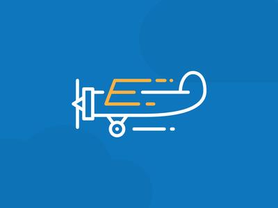 E Plane clever logo clever logos smart logos smart logo plane icon plane logo e logo e letter clouds plane