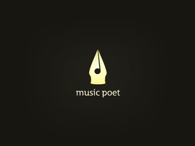 Music Poet logo music negative space gold poet pen poet logo negative space logo iconic golden logo smart logo music logo leo logo clever logo icon note logo artist logo popular logo logo design