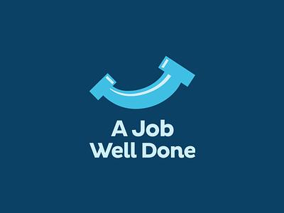 A Job Well Done icon blue logo done well job leologos smart logo pipe smile plumbing plumb