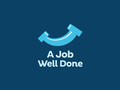 A Job Well Done icon blue logo done well job leologos smart logo pipe smile plumbing plumb