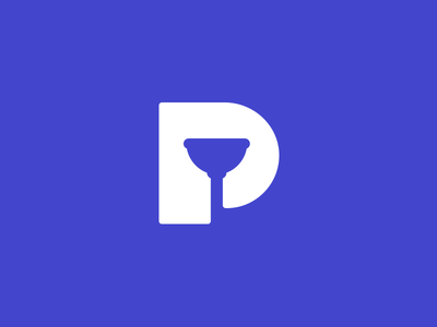 Plumbing Negative Space Logo plumbing clever logos clever smart logos leologos smart negative space p plunger