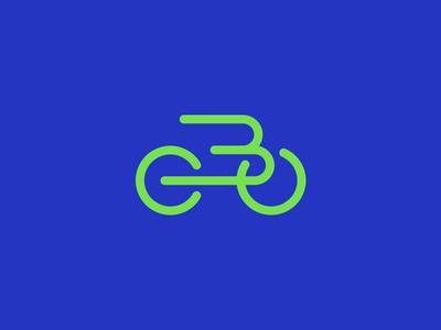 B-Bike blue green letter b bike bicycle b icon b