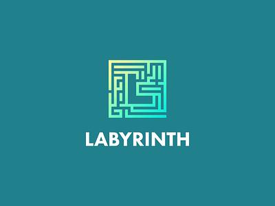 Labyrinth (Maze) smart logos smart logo letter l l gradient negative space icon labyrinth maze