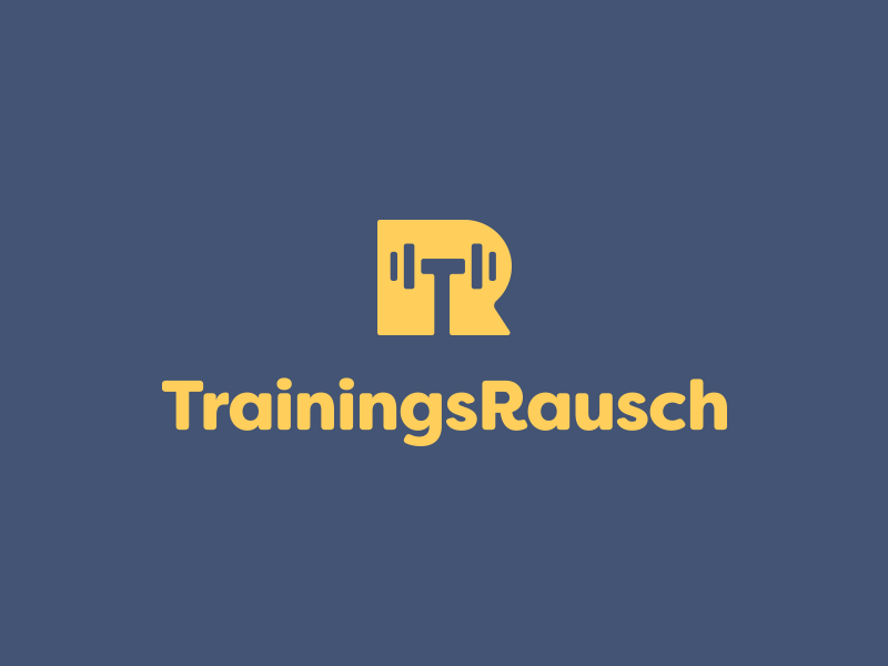 TrainingsRausch feedback icon t r smart logos smart logo logo design logo negative space dumbbell
