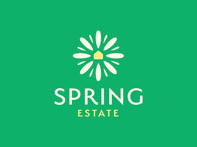 Spring Estate leo logos smart logo estate real estate green home spring house