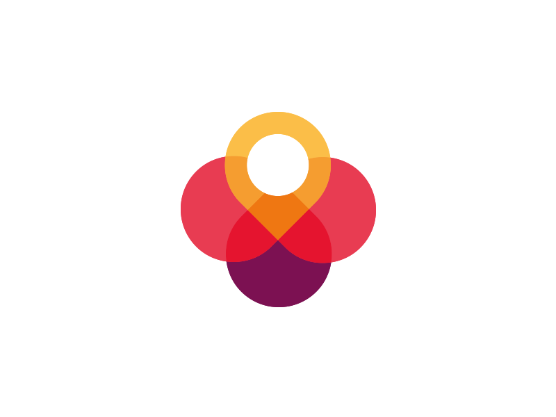 Pin and Flower logo design smart logo colorful color icon find purple blossom flower pin