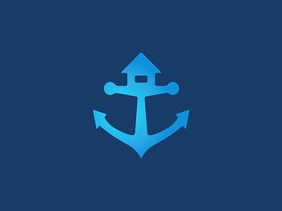 Anchor House house anchor home blue real estate estate smart logo leo logos