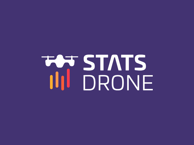 StatsDrone design smart logo quadcopter colorful lines chart stats drone