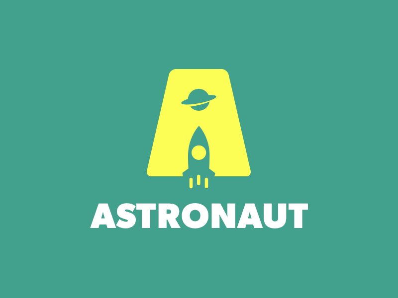 Astronaut Logo Design smart logo smart logos clever logo clever logos negative space a a letter a icon planet space rocket saturn