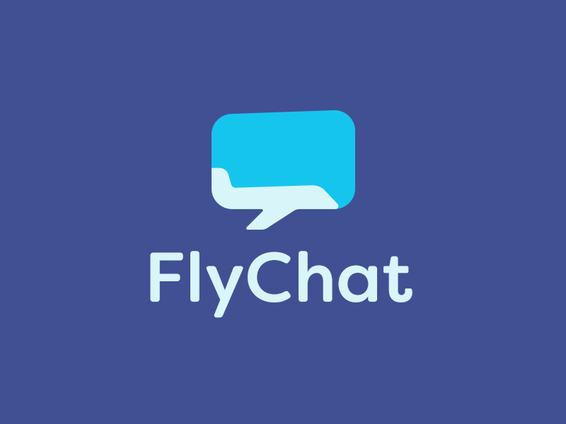 Fly Chat Logo plane chat communication bubble sky fly flight logo design smart logo logo icon