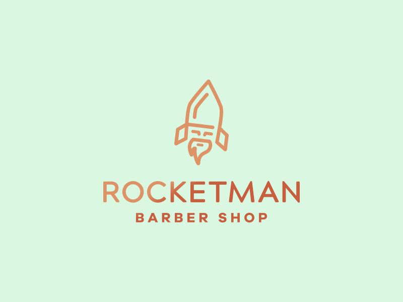 Rocketman Logo branding icon logo designer logo design design smart logo idea rocket barber shop beard