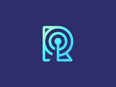 Radar icon letter r gradient blue purple icon podcast radar icon r smart logo radar