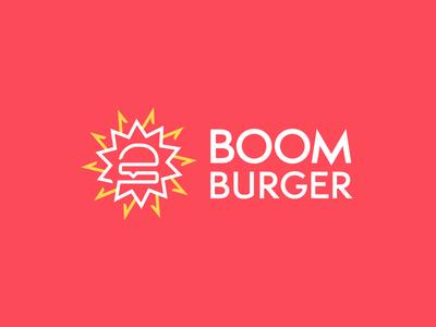 BOOM Burger burger icon food logo food brand food smart logo explosive boom burger fast food identity red