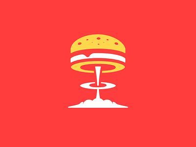 Atomic Burger Logo icon logo icon icon leologos food logo branding identity food red boom burger atomic atomic burger