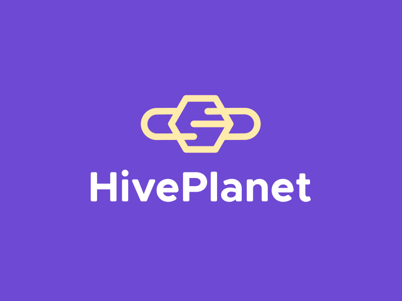 Hive Planet logo design honey logo yellow purple hive design hive logo honey bee space hive planet
